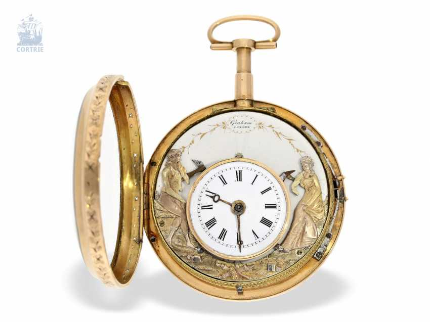 Pocket watch: rarity, only known to us figure automaton Jacquemart, with a coaxially stacked arrangement of the bell and dial, Switzerland Liege for the English market, around 1800 - photo 6
