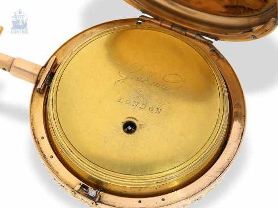 Pocket watch: rarity, only known to us figure automaton Jacquemart, with a coaxially stacked arrangement of the bell and dial, Switzerland Liege for the English market, around 1800 - photo 7
