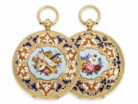 Pocket watch: fine Gold/enamel-Savonnette of outstanding quality, Huegenin & Cie. No. 31147, made for the Ottoman market around 1840 - photo 1