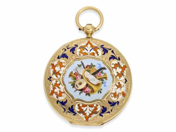Pocket watch: fine Gold/enamel-Savonnette of outstanding quality, Huegenin & Cie. No. 31147, made for the Ottoman market around 1840 - photo 2