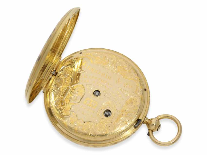 Pocket watch: fine Gold/enamel-Savonnette of outstanding quality, Huegenin & Cie. No. 31147, made for the Ottoman market around 1840 - photo 5