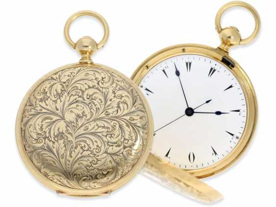 Pocket watch: extremely interesting and very unusual, heavy 18K pomp savonnette with jumping seconds and duplex escapement, Lebet & Fils No. 3512, made for the Ottoman market around 1855 - photo 1