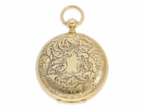 Pocket watch: extremely interesting and very unusual, heavy 18K pomp savonnette with jumping seconds and duplex escapement, Lebet & Fils No. 3512, made for the Ottoman market around 1855 - photo 3