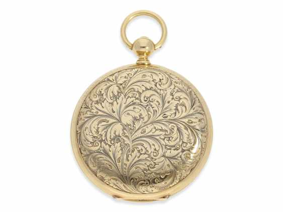 Pocket watch: extremely interesting and very unusual, heavy 18K pomp savonnette with jumping seconds and duplex escapement, Lebet & Fils No. 3512, made for the Ottoman market around 1855 - photo 4