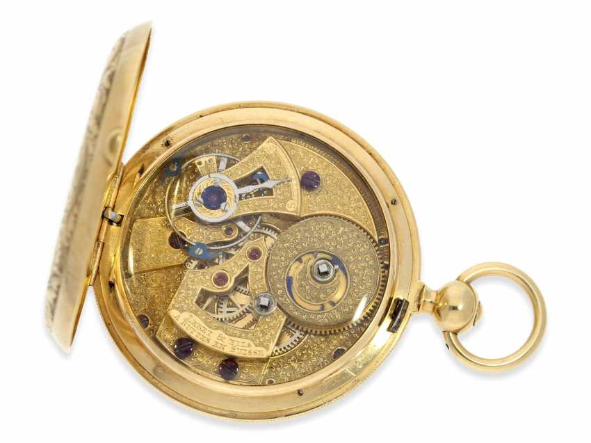 Pocket watch: extremely interesting and very unusual, heavy 18K pomp savonnette with jumping seconds and duplex escapement, Lebet & Fils No. 3512, made for the Ottoman market around 1855 - photo 5