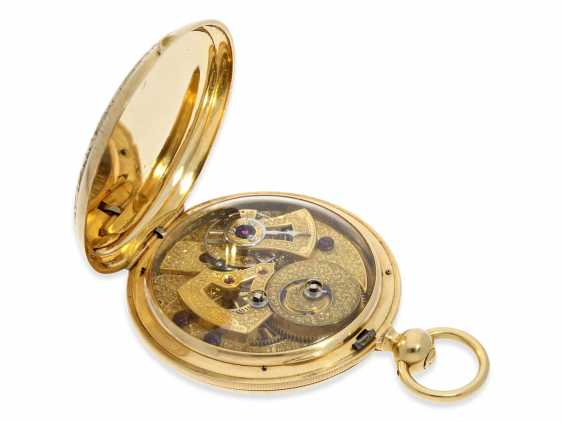 Pocket watch: extremely interesting and very unusual, heavy 18K pomp savonnette with jumping seconds and duplex escapement, Lebet & Fils No. 3512, made for the Ottoman market around 1855 - photo 6
