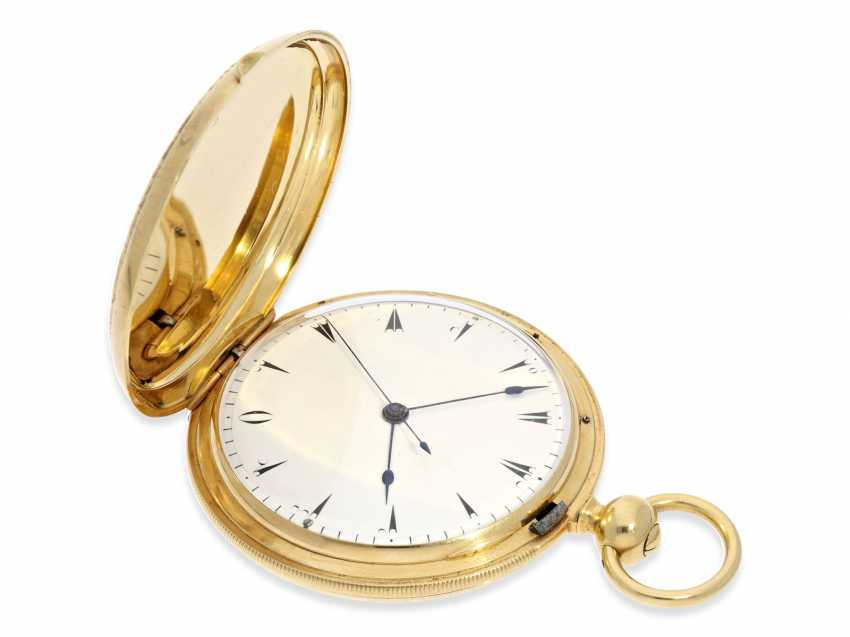 Pocket watch: extremely interesting and very unusual, heavy 18K pomp savonnette with jumping seconds and duplex escapement, Lebet & Fils No. 3512, made for the Ottoman market around 1855 - photo 7