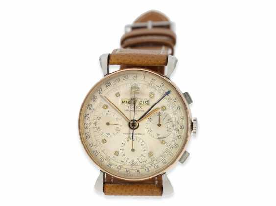 """Watch: extremely rare, large vintage Rolex Chronograph """"anti-magnetique"""", with full calendar, steel/gold, reference 4768, 40s - photo 1"""