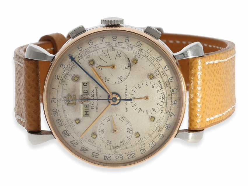 """Watch: extremely rare, large vintage Rolex Chronograph """"anti-magnetique"""", with full calendar, steel/gold, reference 4768, 40s - photo 2"""