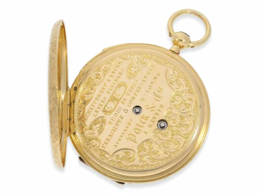 Pocket watch: a unique, early gold savonnette with Repetition, rarity from the early days of Patek Philippe, Patek & Cie. No. 10296, Geneva, CA. 1855, probably with original Box and original key - photo 4