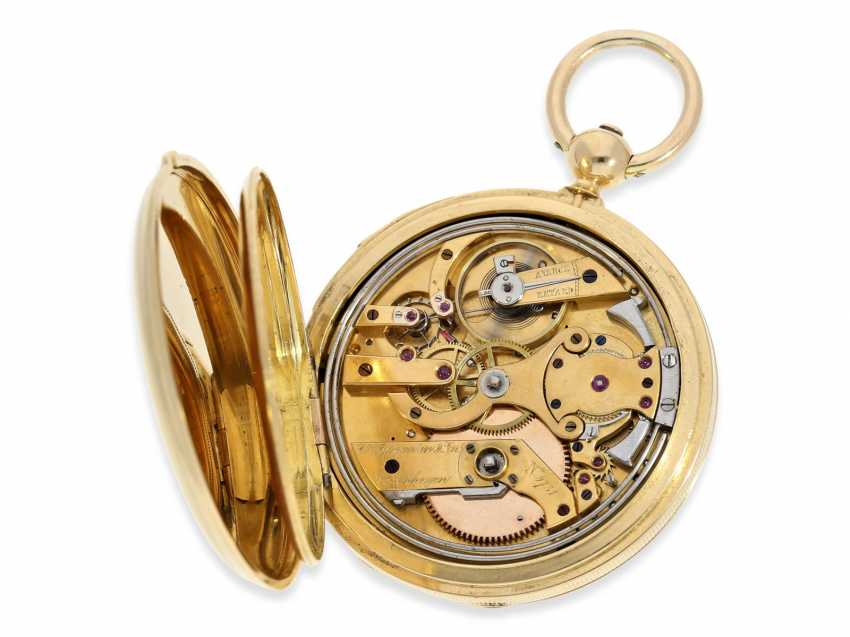 Pocket watch: rare and interesting early gold savonnette with Repetition, Urban Jürgensen & Sons, Copenhagen No. 9731, CA. 1870 - photo 4