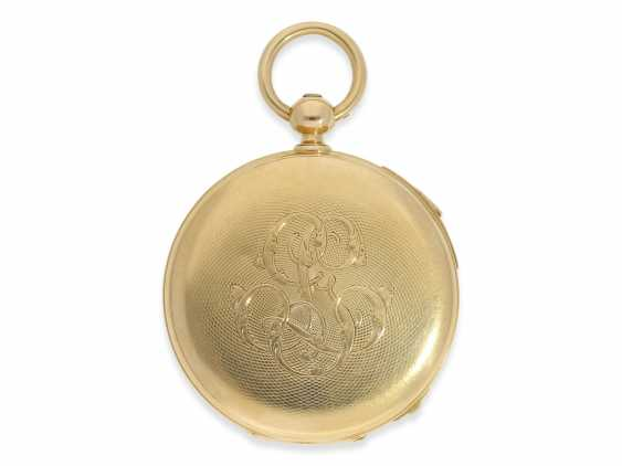Pocket watch: very fine, technically complex gold savonnette with independent, anhaltbarer Seconde Morte, and quarter hour strike, Lepine Paris No. 6612, with original box, CA. 1840 - photo 2