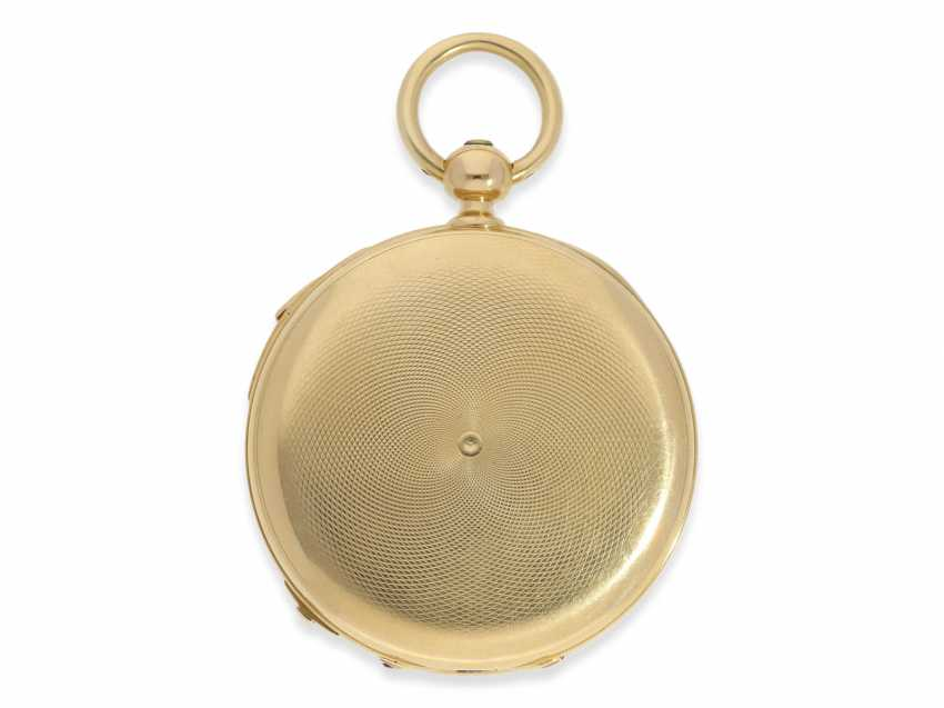 Pocket watch: very fine, technically complex gold savonnette with independent, anhaltbarer Seconde Morte, and quarter hour strike, Lepine Paris No. 6612, with original box, CA. 1840 - photo 3