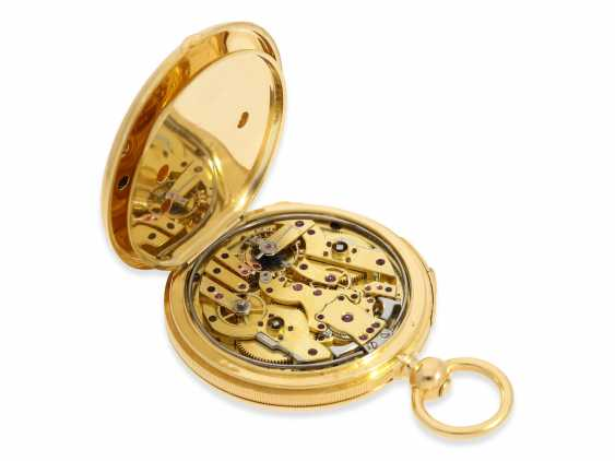 Pocket watch: very fine, technically complex gold savonnette with independent, anhaltbarer Seconde Morte, and quarter hour strike, Lepine Paris No. 6612, with original box, CA. 1840 - photo 5