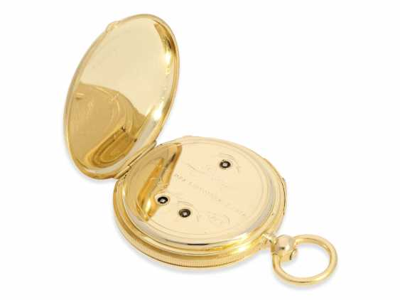 Pocket watch: very fine, technically complex gold savonnette with independent, anhaltbarer Seconde Morte, and quarter hour strike, Lepine Paris No. 6612, with original box, CA. 1840 - photo 7