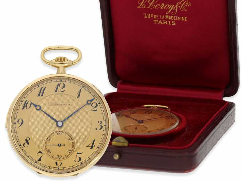 Pocket watch: an exquisite pocket watch with minute repeater, Audemars Piguet for Leroy & Cie Paris No. 15357, with original box, approx. in 1923, - photo 1
