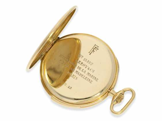 Pocket watch: an exquisite pocket watch with minute repeater, Audemars Piguet for Leroy & Cie Paris No. 15357, with original box, approx. in 1923, - photo 8