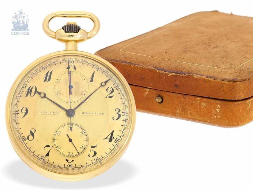 """Taschenuhr: exquisites und sehr seltenes Observatoriums-Chronometer mit Chronograph, Le Roy & Cie, """"Chronometer de Observatoire National de Besancon"""", Chronograph und 30-Minuten-Register, um 1920, Originalbox - photo 1"""
