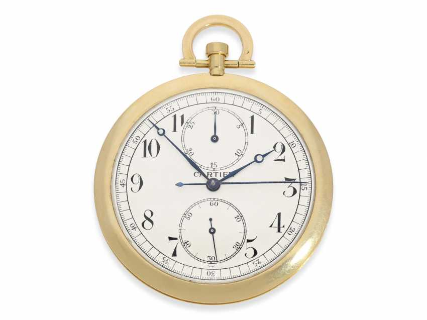 """Pocket watch: Cartier rarity, especially large, extra flat Cartier pocket watch with Chronograph and counter, """"Montre Couteau"""", No. 10549, excellent condition, CA. 1925 - photo 1"""