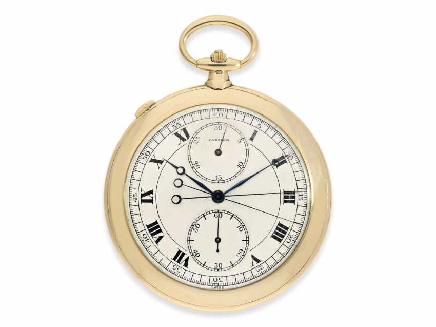 Pocket watch: Cartier rarity, and large, elegant Cartier watch with split-seconds chronograph and Subdials, No. 9450, probably delivered to the Royal watchmaker and jeweler Hamilton in Calcutta & New Delhi, CA. 1925, with original box - photo 1