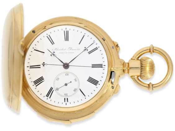 Pocket watch: rarity, extremely heavy gold savonnette with a very rare double-complications: Seconde Morte, minute repeater, Humbert-Ramuz & co., La Chaux-de-Fonds, No. 39950, CA. 1875 - photo 1