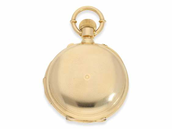 Pocket watch: rarity, extremely heavy gold savonnette with a very rare double-complications: Seconde Morte, minute repeater, Humbert-Ramuz & co., La Chaux-de-Fonds, No. 39950, CA. 1875 - photo 2
