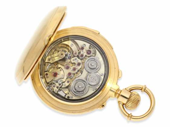 Pocket watch: rarity, extremely heavy gold savonnette with a very rare double-complications: Seconde Morte, minute repeater, Humbert-Ramuz & co., La Chaux-de-Fonds, No. 39950, CA. 1875 - photo 4