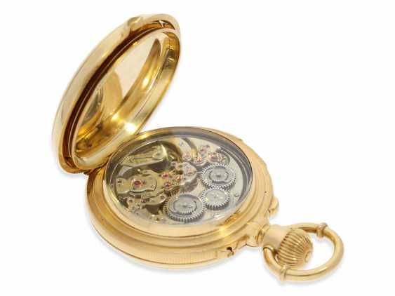 Pocket watch: rarity, extremely heavy gold savonnette with a very rare double-complications: Seconde Morte, minute repeater, Humbert-Ramuz & co., La Chaux-de-Fonds, No. 39950, CA. 1875 - photo 5