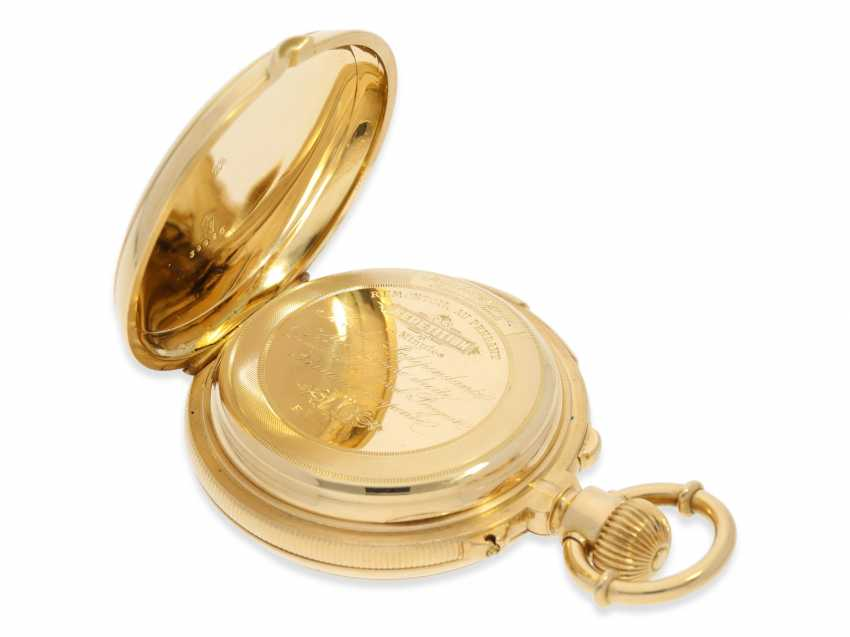 Pocket watch: rarity, extremely heavy gold savonnette with a very rare double-complications: Seconde Morte, minute repeater, Humbert-Ramuz & co., La Chaux-de-Fonds, No. 39950, CA. 1875 - photo 6