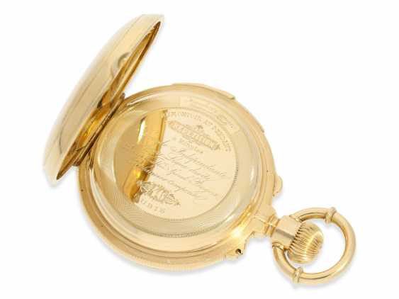 Pocket watch: rarity, extremely heavy gold savonnette with a very rare double-complications: Seconde Morte, minute repeater, Humbert-Ramuz & co., La Chaux-de-Fonds, No. 39950, CA. 1875 - photo 7