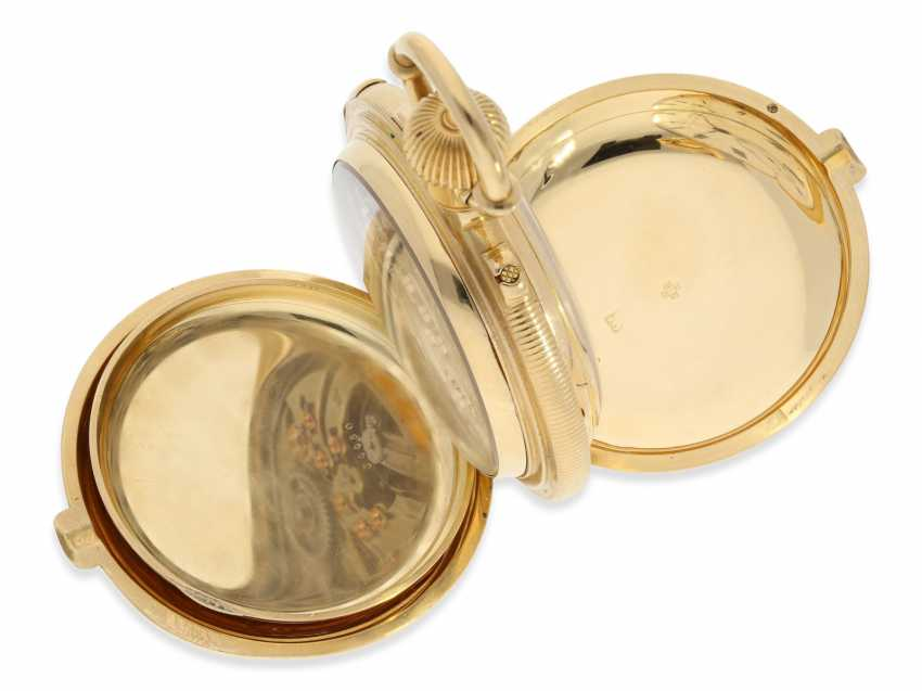 Pocket watch: rarity, extremely heavy gold savonnette with a very rare double-complications: Seconde Morte, minute repeater, Humbert-Ramuz & co., La Chaux-de-Fonds, No. 39950, CA. 1875 - photo 8