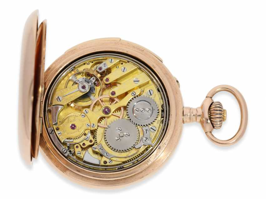 Pocket watch: rarity, early, early, early red-gold Savonnette with a perpetual calendar and minute repeater, Louis Audemars, No. 10377, CA. 1870 - photo 4