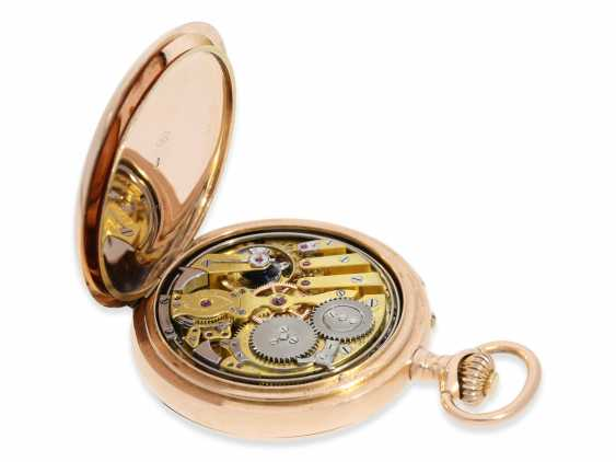 Pocket watch: rarity, early, early, early red-gold Savonnette with a perpetual calendar and minute repeater, Louis Audemars, No. 10377, CA. 1870 - photo 5