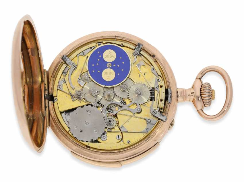Pocket watch: rarity, early, early, early red-gold Savonnette with a perpetual calendar and minute repeater, Louis Audemars, No. 10377, CA. 1870 - photo 8