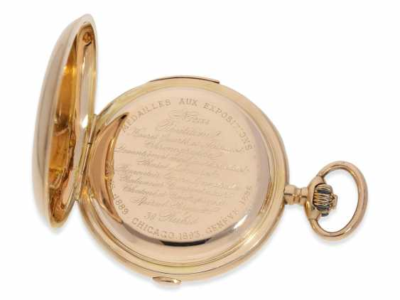 Pocket watch: very large and heavy, astronomical gold savonnette with 6 complications, including minute repeater, Maurice Ditisheim, La Chaux-de-Fonds, No. 12454, CA. 1890 - photo 4