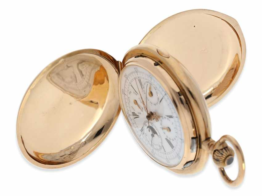 Pocket watch: very large and heavy, astronomical gold savonnette with 6 complications, including minute repeater, Maurice Ditisheim, La Chaux-de-Fonds, No. 12454, CA. 1890 - photo 7