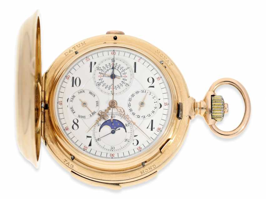 Pocket watch: Significant gold savonnette with 8 complications, a perpetual calendar, minute repeater, and a heavy matching watch chain, Audemars Piguet No. 48540, made for Dürrstein Dresden around 1900 - photo 5