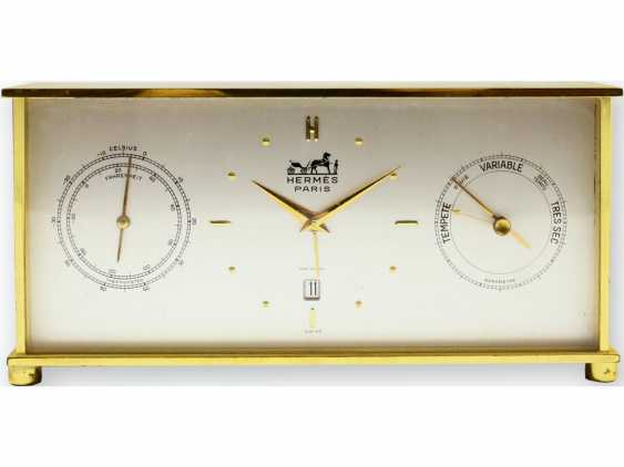 Table clock:, rare complicated vintage table clock with Alarm, date and weather station, HERMÈS, PARIS, early 60s - photo 1