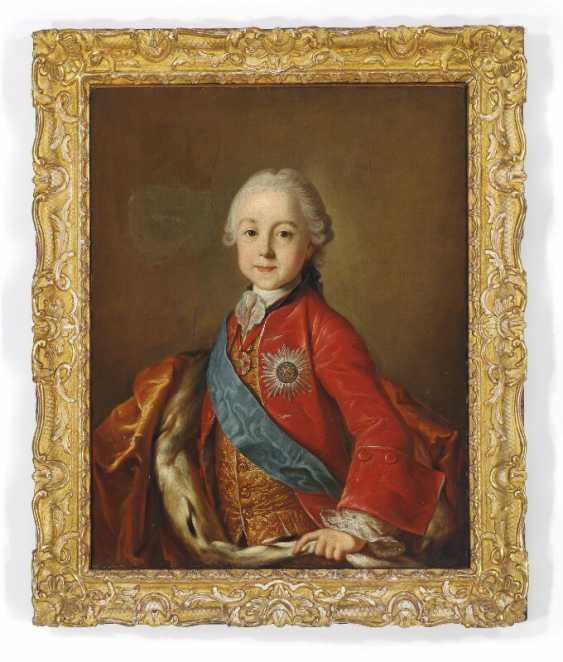 Pietro Antonio Rotari, style of, second half of the 18th century: Portrait of Tsarevich Paul Petrovich of Russia. Unsigned. Oil on canvas. 80×62 cm. - photo 1