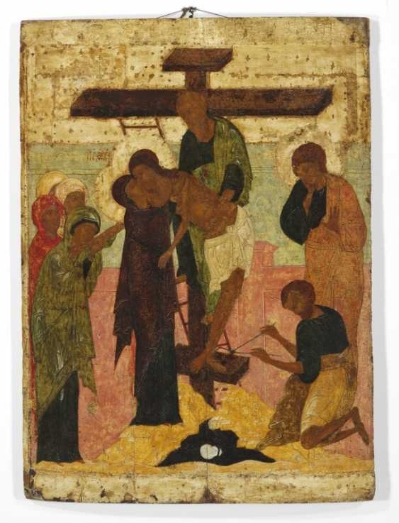 Novgorod School, 16th century: A highly important Russian church icon depicting The Descent from the Cross. Depth 26 mm. 90.5×66 cm. - photo 1
