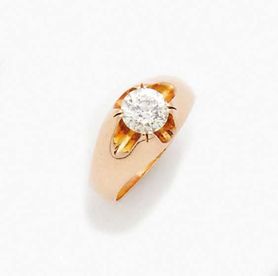 Classic band ring with brilliant solitaire - photo 1