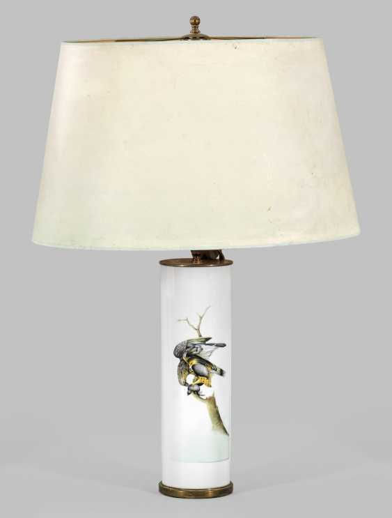Large table lamp with a painting of Brigitte Holtz - photo 1