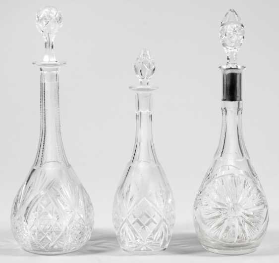 Three crystal glass decanters with Stoppers - photo 1