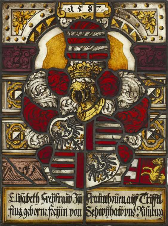 Set of five stained glass Armorial panels - photo 1