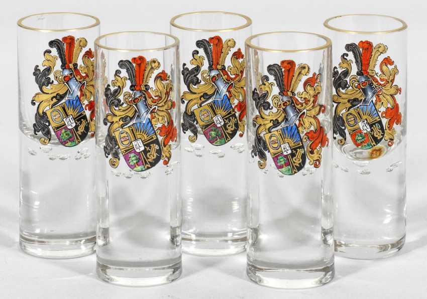 Five shot glasses of the Jenaer Burschenschaft Arminia on the - photo 1
