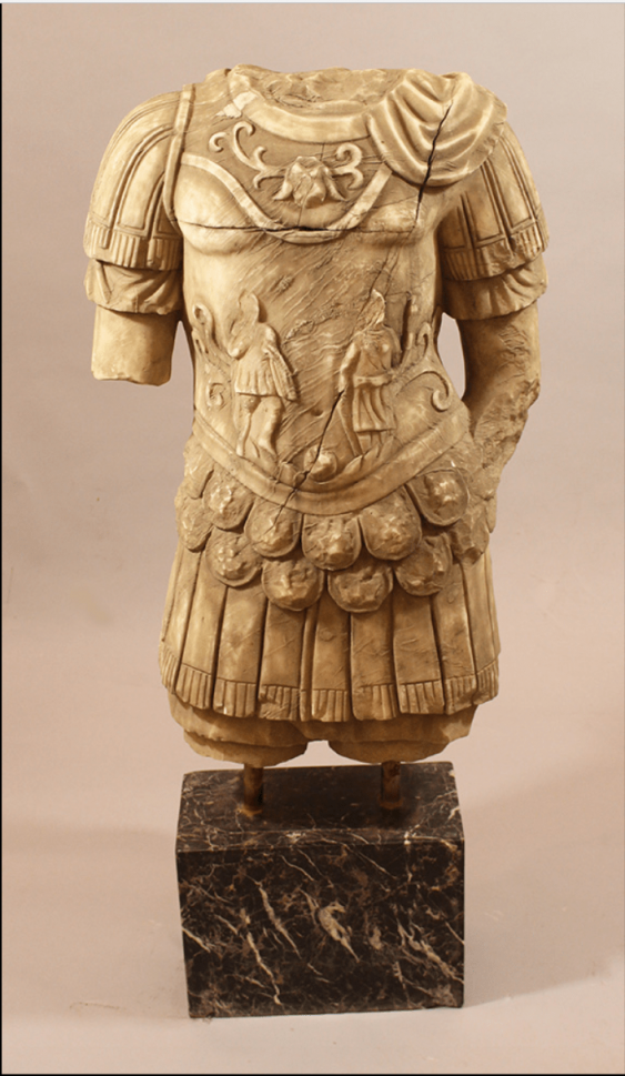 Large marble torso of a soldier or an officer with armour - photo 1