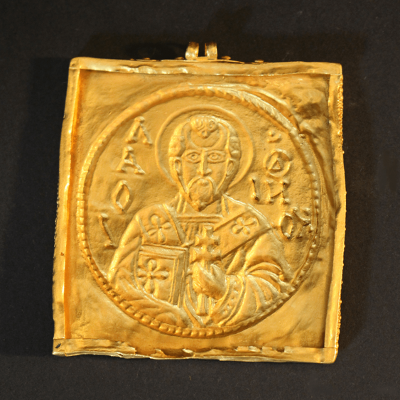 A gold amulet with two eyes and chased St. Nicholas with inscription - photo 2