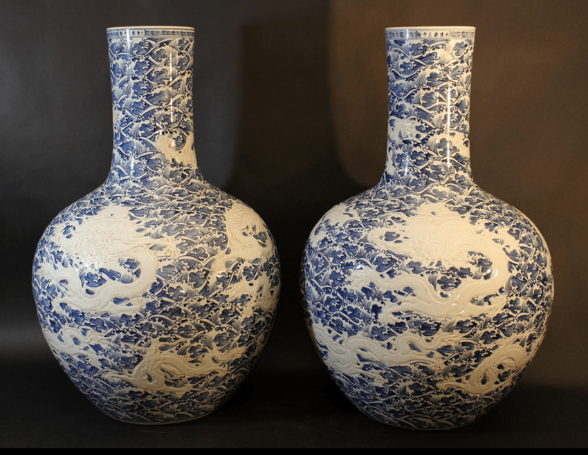 A pair of large Chinese hall vases in bowl shape with long small necks