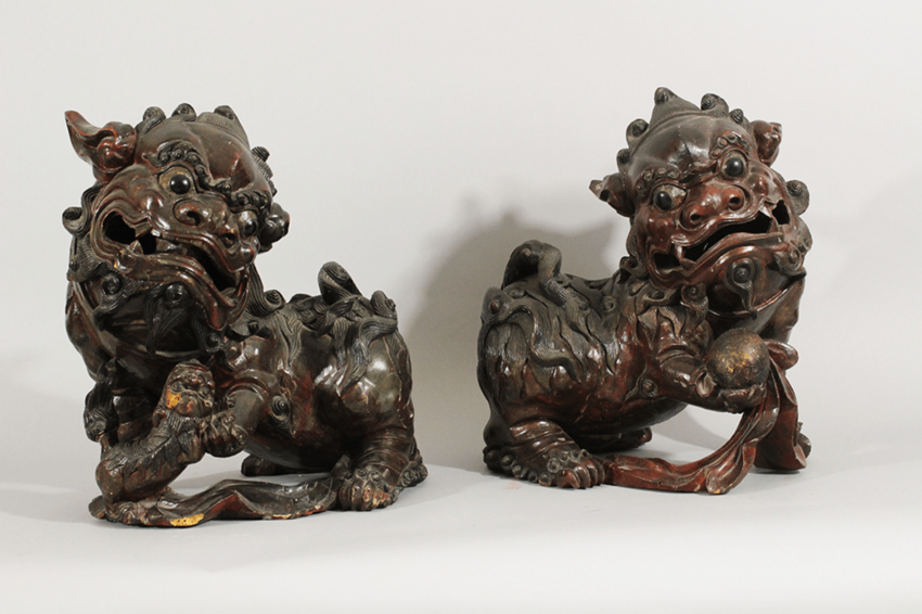 A pair of Chinese wooden Fo Lions