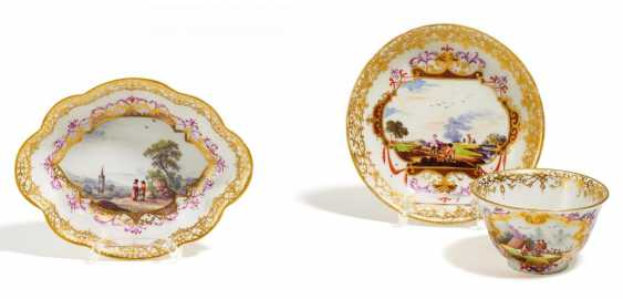 Coupling with under shell & small passige bowl with landscape cartouches - photo 1